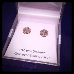 1/10 ctw Diamond Gold Over Sterling Silver Studs